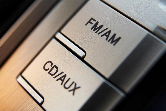 Car cd-radio control buttons closeup
